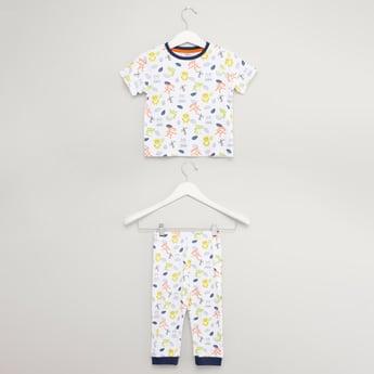 Printed Round Neck T-shirt with Pyjamas Set