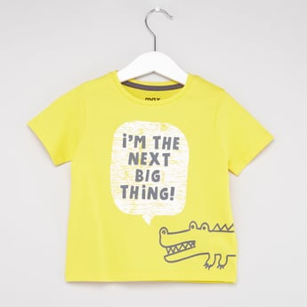 Text Print T-shirt with Short Sleeves