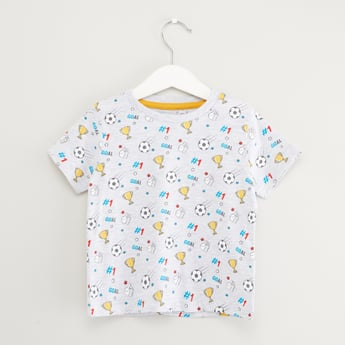 All-Over Football Print T-shirt with Round Neck and Short Sleeves