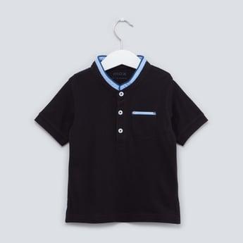Plain T-shirt with Mandarin Collar and Short Sleeves