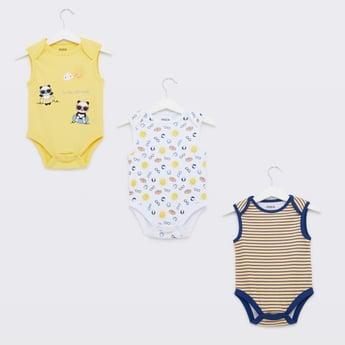 Set of 3 - Printed Sleeveless Bodysuit with Round Neck