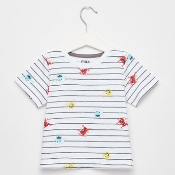 All-Over Printed T-shirt with Round Neck and Short Sleeves