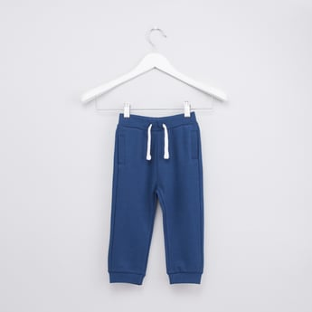 Textured Jog Pants with Ribbed Hems and Pockets
