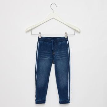 Full Length Denim Jog Pants with Tape Detail and Drawstring Closure