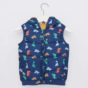 Dino Print Sleeveless Gilet Jacket with Hood