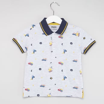 All Over Printed Polo T-shirt with Short Sleeves