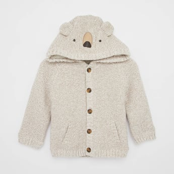 Bear Hood Sweater with Button Front Closure