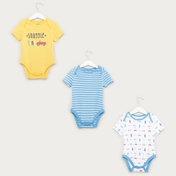 Set of 3 - Printed Bodysuit with Short Sleeves and Button Closure