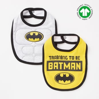 Set of 2 - Batman Print GOTS Organic Cotton Bib