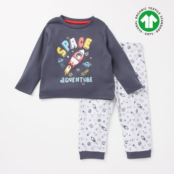 Printed GOTS Organic Cotton Long Sleeves T-shirt and Joggers Set