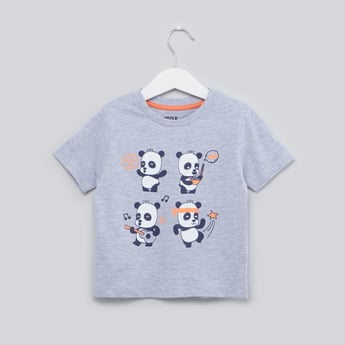 Panda Printed T-shirt with Round Neck and Short Sleeves