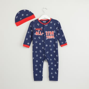 Soccer Print Sleepsuit with Cap