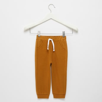 Full Length Textured Joggers with Drawstring and Pockets