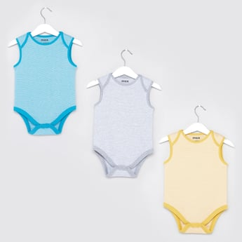 Set of 3 - Textured Sleeveless Bodysuit with Round Neck