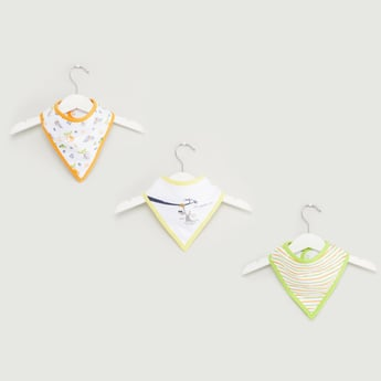 Set of 3 - Printed Bib with Press Button Closure