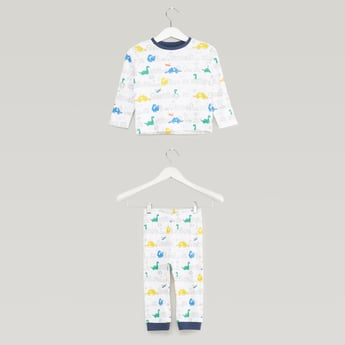 Graphic Dino Prints Long Sleeves T-shirt with Full Length Jog Pants