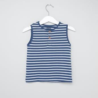 Striped Henley Neck Sleeveless Vest