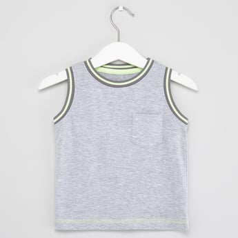 Sleeveless T-shirt with Round Neck and Chest Pocket