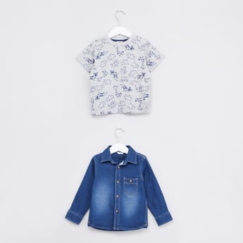 Printed Short Sleeves T-shirt with Denim Long Sleeves Shirt
