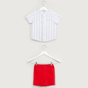 Striped Short Sleeves Shirt with Solid Shorts