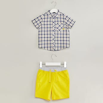 Chequered Short Sleeves Shirt with Shorts