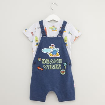 Disney Donald Duck Print T-shirt with Dungarees Set