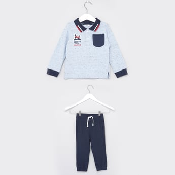 Polo T-shirt with Long Cuffed Sleeves and Textured Joggers