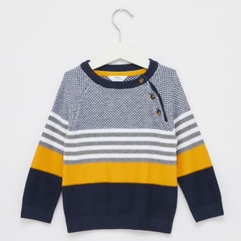 Striped Round Neck Sweater with Long Sleeves and Button Accents