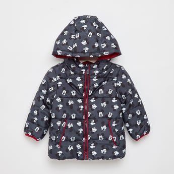 Mickey Mouse Print Padded Jacket with Hood and Zip Closure