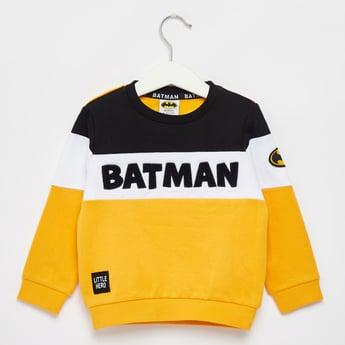 Batman Textured Round Neck Sweatshirt with Long Sleeves