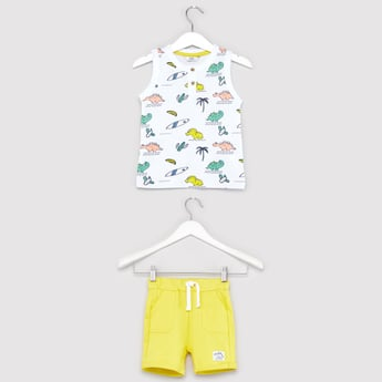 Dino Print Sleeveless T-shirt and Contrast Knit Shorts Set