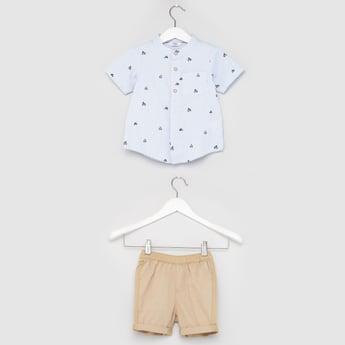 Printed Short Sleeves Shirt with Textured Shorts