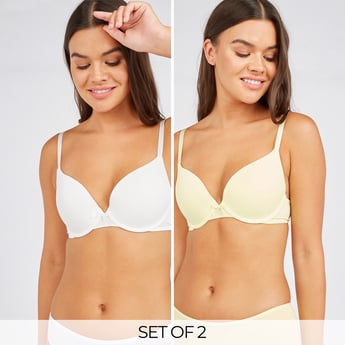 Set of 2 - Solid Plunge Bra with Hook and Eye Closure