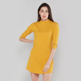 Textured Mini Shift Dress with High Neck and 3/4 Sleeves
