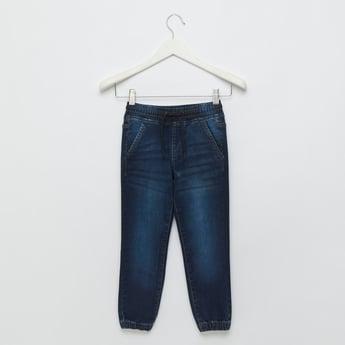 Textured Denim Jog Pants with Pocket Detail and Drawstring Closure