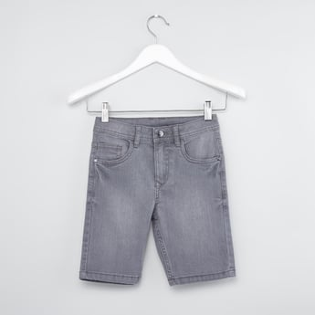 Plain Denim Shorts with Pocket Detail and Belt Loops