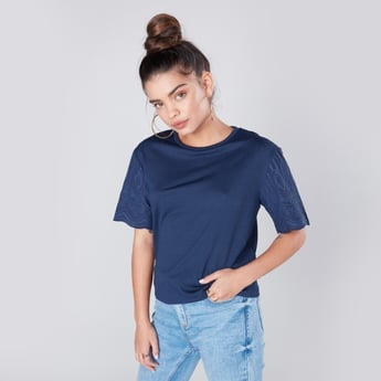 Embroidered Shell Top with Round Neck