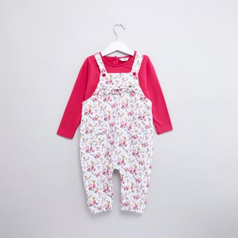 Printed Long Sleeves T-shirt and Dungarees Set