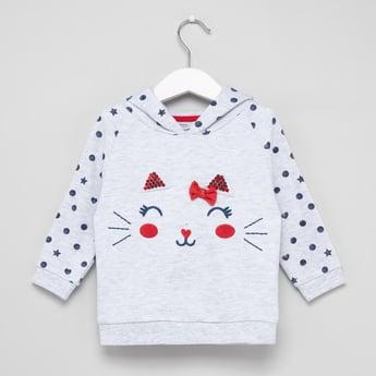 Embellished Printed Hoodie with Long Sleeves