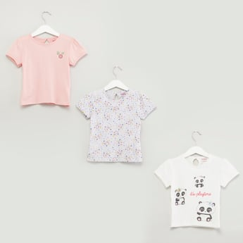 Set of 3 - Printed T-shirts with Round Neck and Short Sleeves