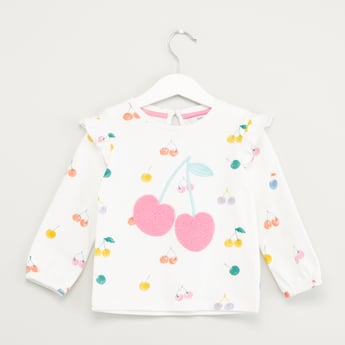 Printed Round Neck Sweatshirt with Long Sleeves and Ruffle Detail
