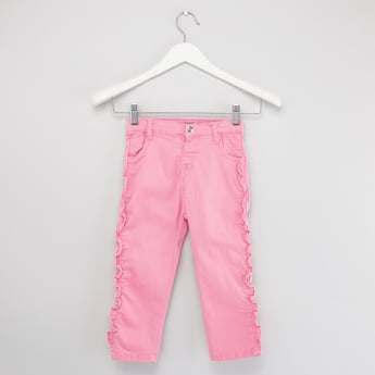 Solid Jeans with Button Closure and Ruffle Detail