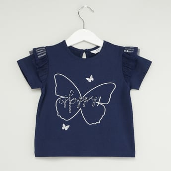 Embroidered Round Neck T-shirt with Short Sleeves and Ruffle Detail