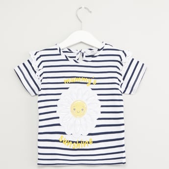 Striped T-shirt with Floral Applique Detail
