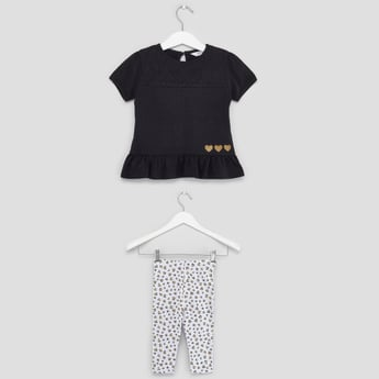Printed Round Neck T-shirt with Leggings