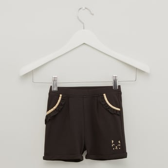 Monochrome Knit Shorts with Pockets and Upturned Hems