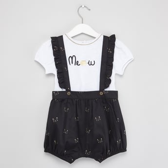 Printed Round Neck T-shirt with Shorts and Suspenders