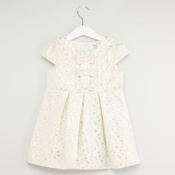 Textured Spot Dress with Round Neck and Cap Sleeves