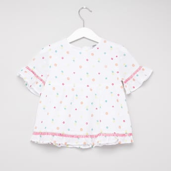 All-Over Print Top with Round Neck and Frill Detail Sleeves