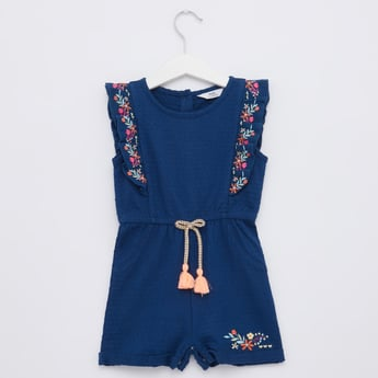Textured Playsuit with Embroidery and Tie Ups